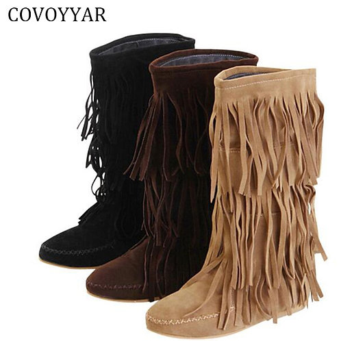 COVOYYAR Hot 3 Layers Fringe Boots 2019 Low Heel