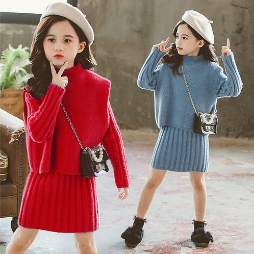 Girls Clothing Set 2020 Autumn Warm Thicken Knitted Sweater Dress