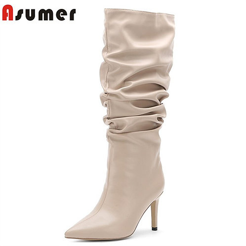 ASUMER 2020 Hot Sale Knee High Boots Women Pleated Pointed