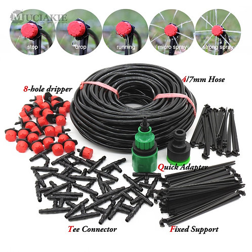 MUCIAKIE 50m-5m DIY Drip Irrigation System Automatic Watering