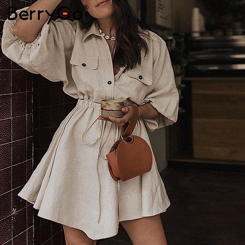 BerryGo Women Dresses Mini Shirt Dresses Lantern Sleeve Sash