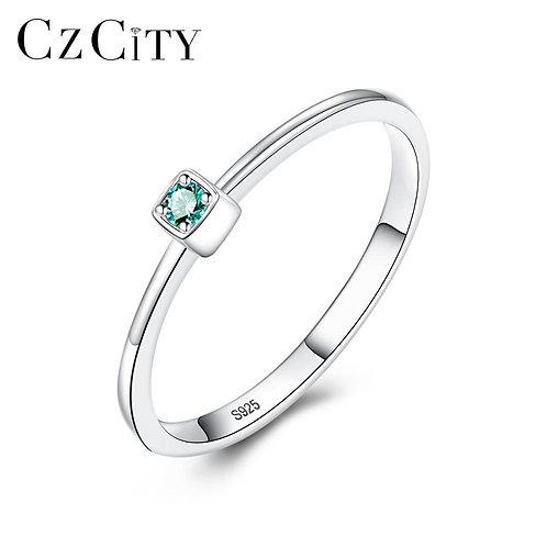 CZCITY Genuine 925 Sterling Silver VVS Green Topaz Wedding