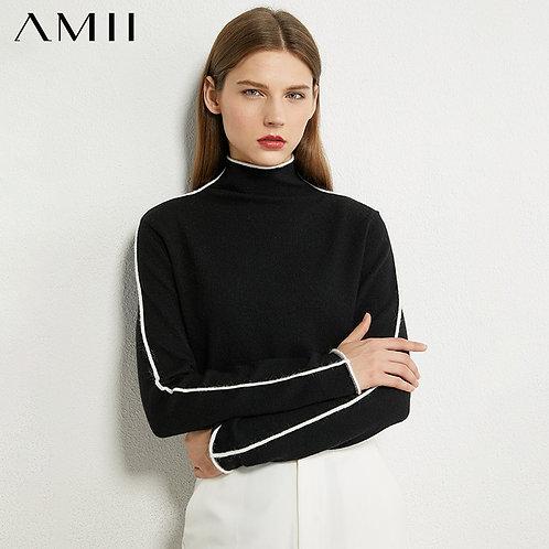 AMII Minimalism Autumn Winter Sweater for Women Causal Spliced