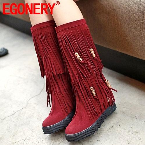 EGONERY Winter New Fashion Round Toe Knee High Boots