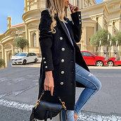 Faux Wool Blends Women Long Coats Trench Notch Collar Double