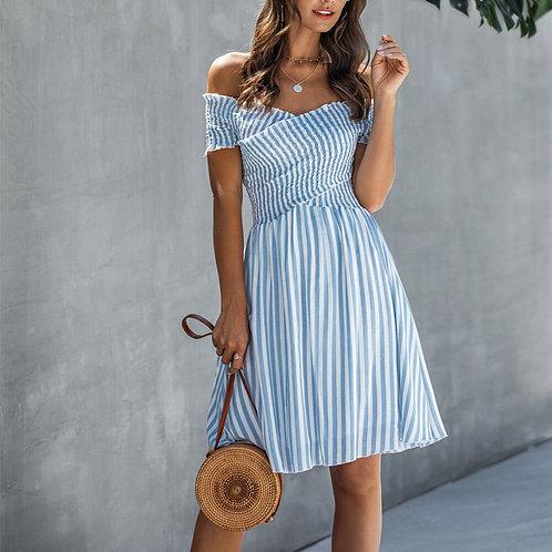 Summer Women Elegant Striped Off the Shoulder Mini Dress 2020