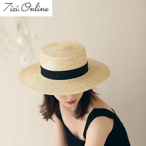 Fashion Summer Women Wide Brim Natural Straw Hat Chapeau