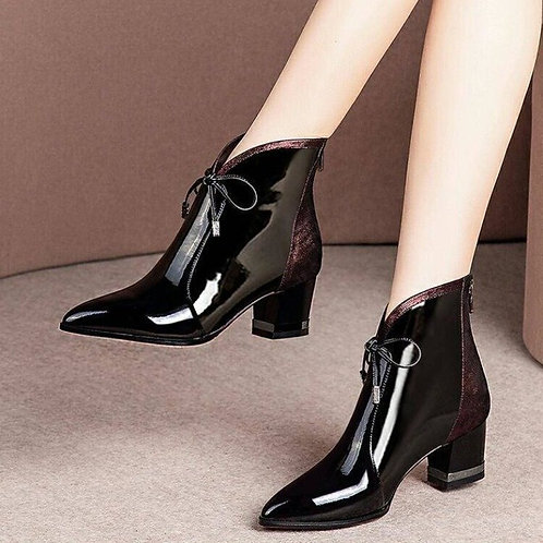Woman Pointed Toe Lace Up Low Heels Ankle Boots Women's