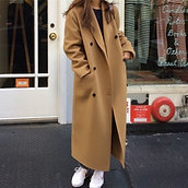 Korea Women Autumn Winter Double Breasted Long Wool Coat