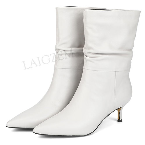 LAIGZEM QualityLEATHER Women Slouth Boots Kitten Heels