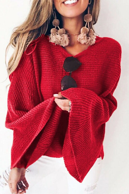 Women Ladies Long Batwing Sleeve Autumn Winter Casual Loose Pullover Sweater