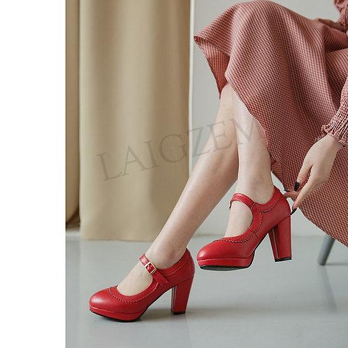 LAIGZEM Retro Mary Jane Shoes Mid Chunky Heels Women Heels