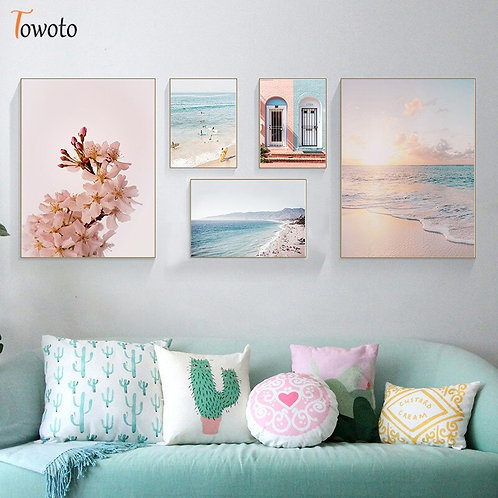 Nordic Landscape Canvas Painting for Living Room Poster Print