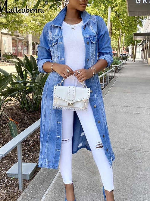 Autumn Women Sexy Ripped Denim Jackets 2020 Vintage Casual