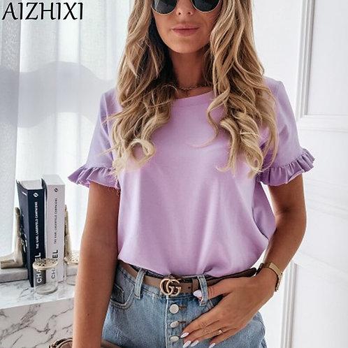 AIZHIXI Solid Ruffle Trim T Shirts Women Summer