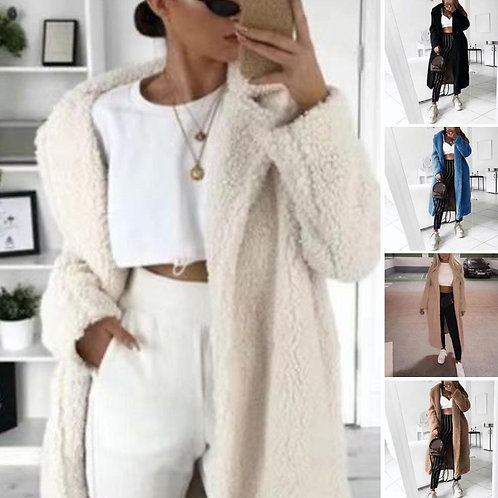 2019 Autumn and Winter Solid Color Woolen Coat Female Mid-