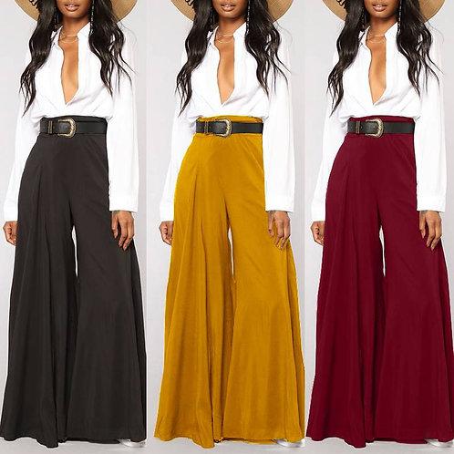 Vintage Flare Trousers Women High Waist Wide Leg Pants