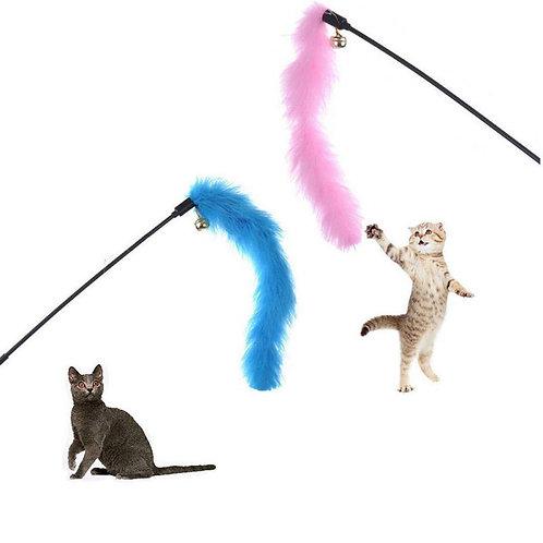 1PC Cat Kitten Teaser Turkey Feather Interactive Stick Toy Wire