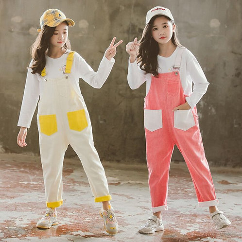 6 8 10 12 Years Candy Color Girls Overalls Casual Loose Cotton Kids