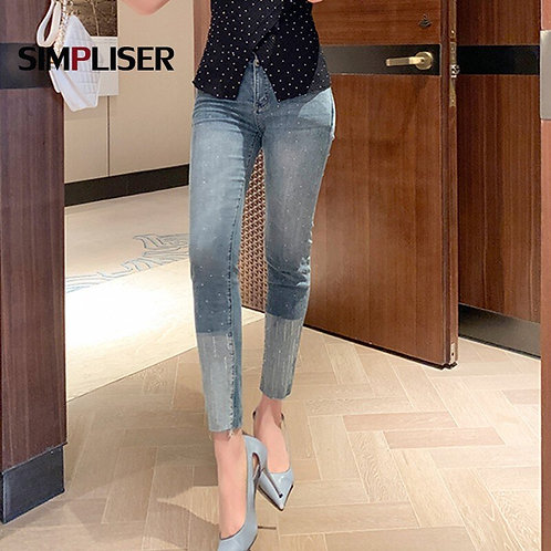 Skinny Jeans Pants Women 2020 Summer Jeans Pencil Pants High