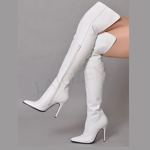 LAIGZEM White Women Over Knee High Boots Faux Leather Zip