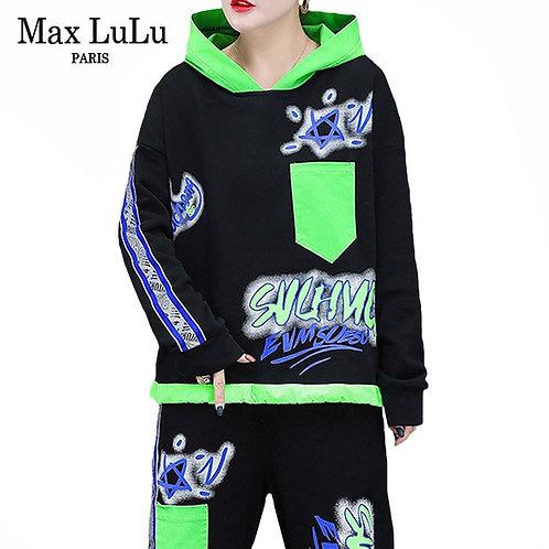 Max LuLu 2020 Autumn European Style Womens Black Two Pices