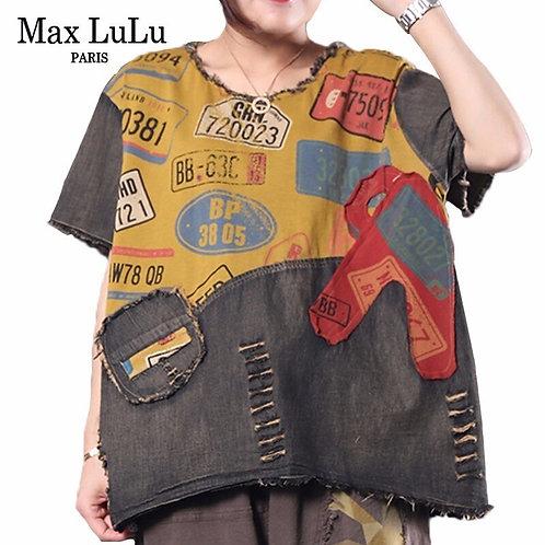 Max LuLu 2020 Summer European Fashion Ladies Denim Tops Womens