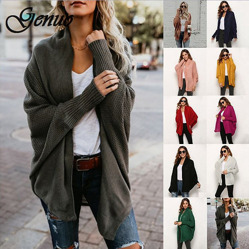 Women Autumn Winter Sweater With Buttons Knitted Cardigan