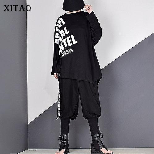XITAO Irregular Letter Print Sequins T Shirt Women 2020
