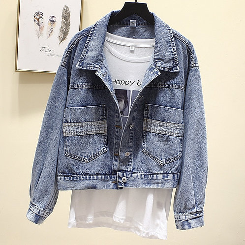 Vintage Denim Jacket Women Spring Coat Ripped Oversized