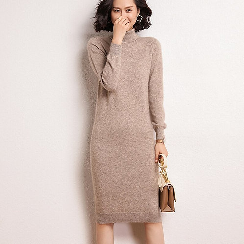 100% Pure Cashmere Winter Dresses Long Straight Jumpers Knitted