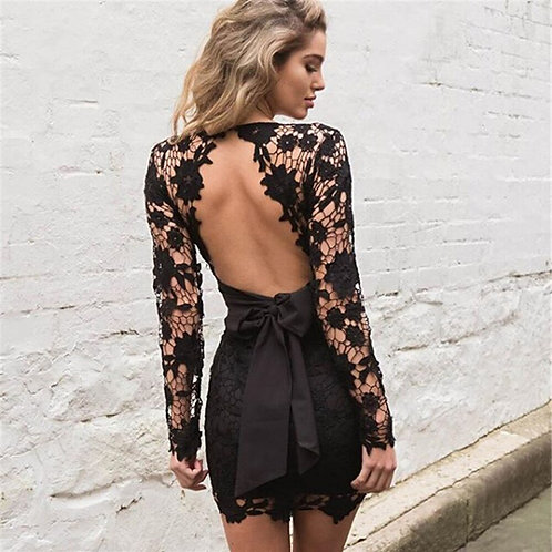 Nadafair Sexy Backless Deep v Neck Lace