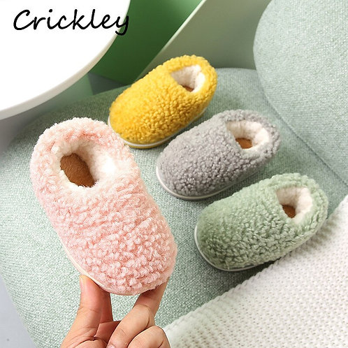 Winter Kids Slippers Solid Candy Color LAMBS WOOL Indoor