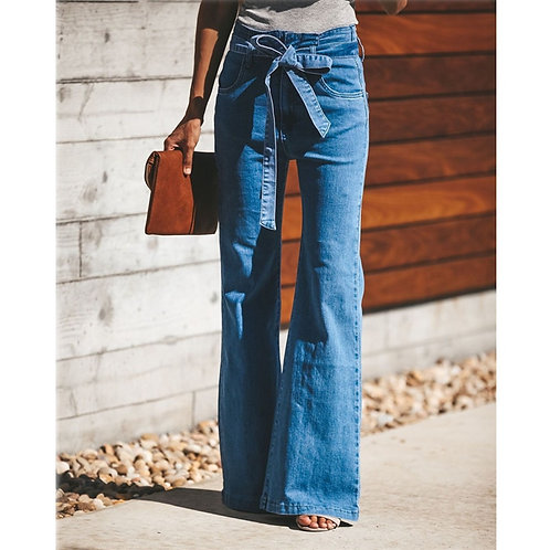 Blue Tie Waist Flare Jeans Women Slim Denim Trousers Vintage
