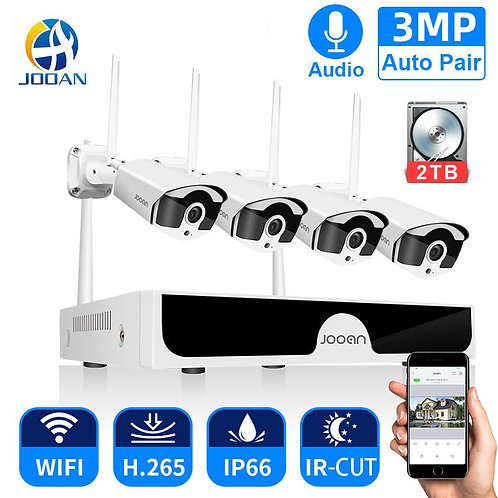 Jooan 8CH NVR HD 3MP CCTV Camera System Audio Record Outdoor