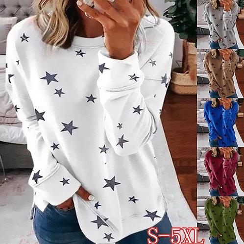 Autumn New Long Sleeve T-Shirt Women Pentagram Printed O-Neck White