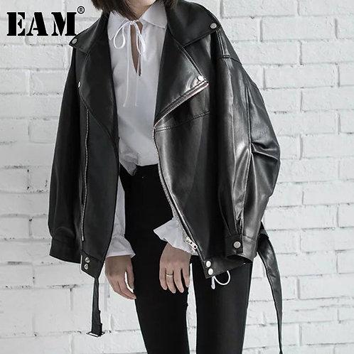 [EAM] High Quality 2020 Spring Black PU Leather Loose Turn-Down Collar Zipper