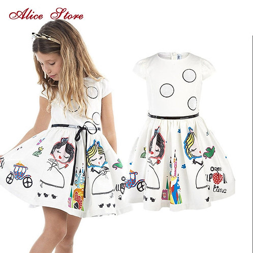 Girls Dress Kids Clothes Summer Brand Baby With Sashes Robe Fille