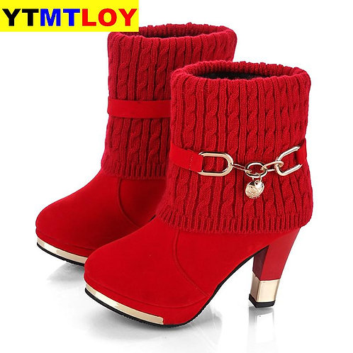 2020 Winter New Thick With Shoes Women's Boots High-Heeled