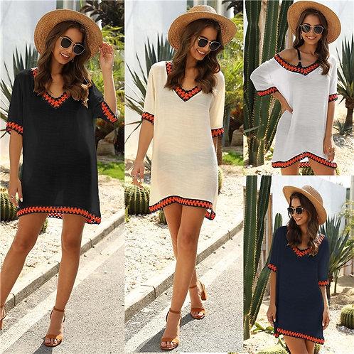 Beach Dress Cover Up Women White Plus Size Beachwear 2020