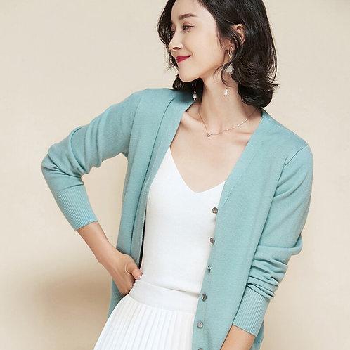 Litvriyh Female Cardigan V-Neck Long Sleeve Coat Women Sweater