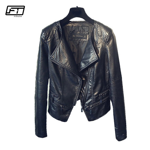Fitaylor Spring Autumn Ladies Motorcycle Leather Jackets Women