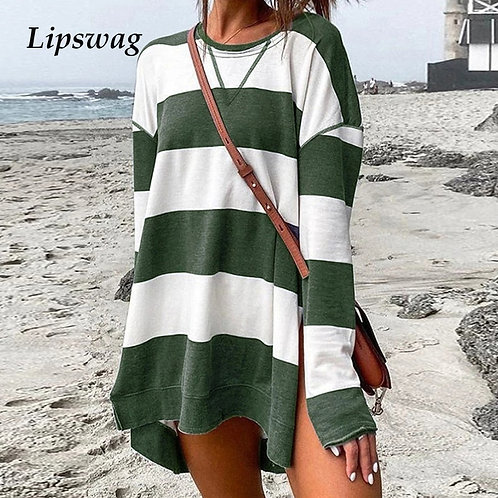 Women Autumn O-Neck Split Boho Dress Fashion Striped Print Mini Dress