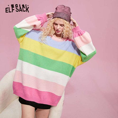 ELFSACK Rainbow Striped Loose Casual Knit Pullover Sweater Women,2020 Autumn