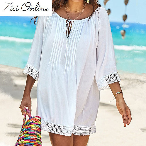 White Cotton Lace Beach Cover Up Tunic Beach Shirt Sexy Plus Size