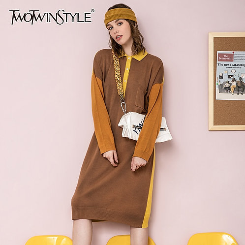 TWOTWINSTYLE Casual Patchwork Hit Color Dress for Women