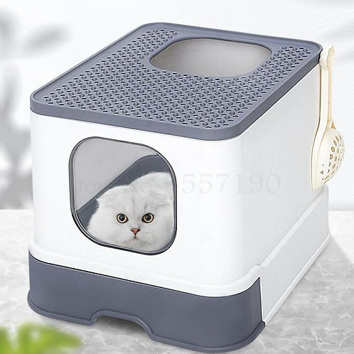 Fully Enclosed Cat Litter Box Large Anti-Spatter Drawer Top Into