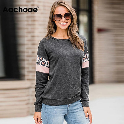 Aachoae Women Hoodies and Sweatshirts 2020 Leopard Print Long Sleeve