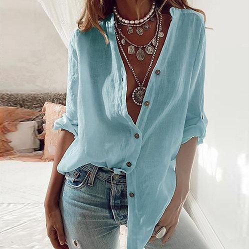 Elegant Office Lady V-Neck Button Blouse Shirt Women Cotton