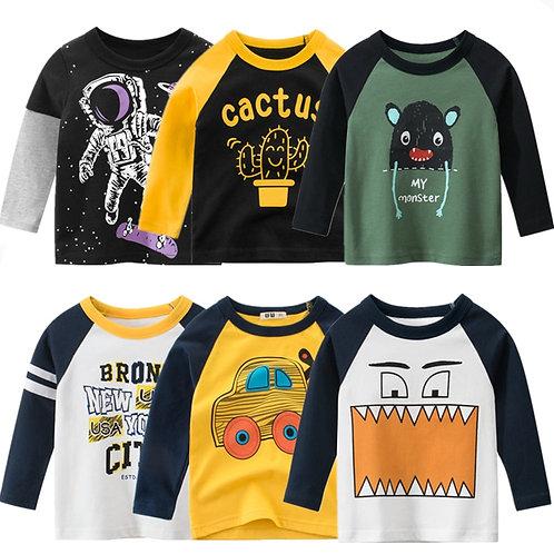 Kids T-Shirts 100% Cotton Monster Astronaut Baby Boys Girls Long